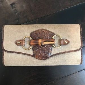 Authentic Gucci Beige Bamboo Long Wallet